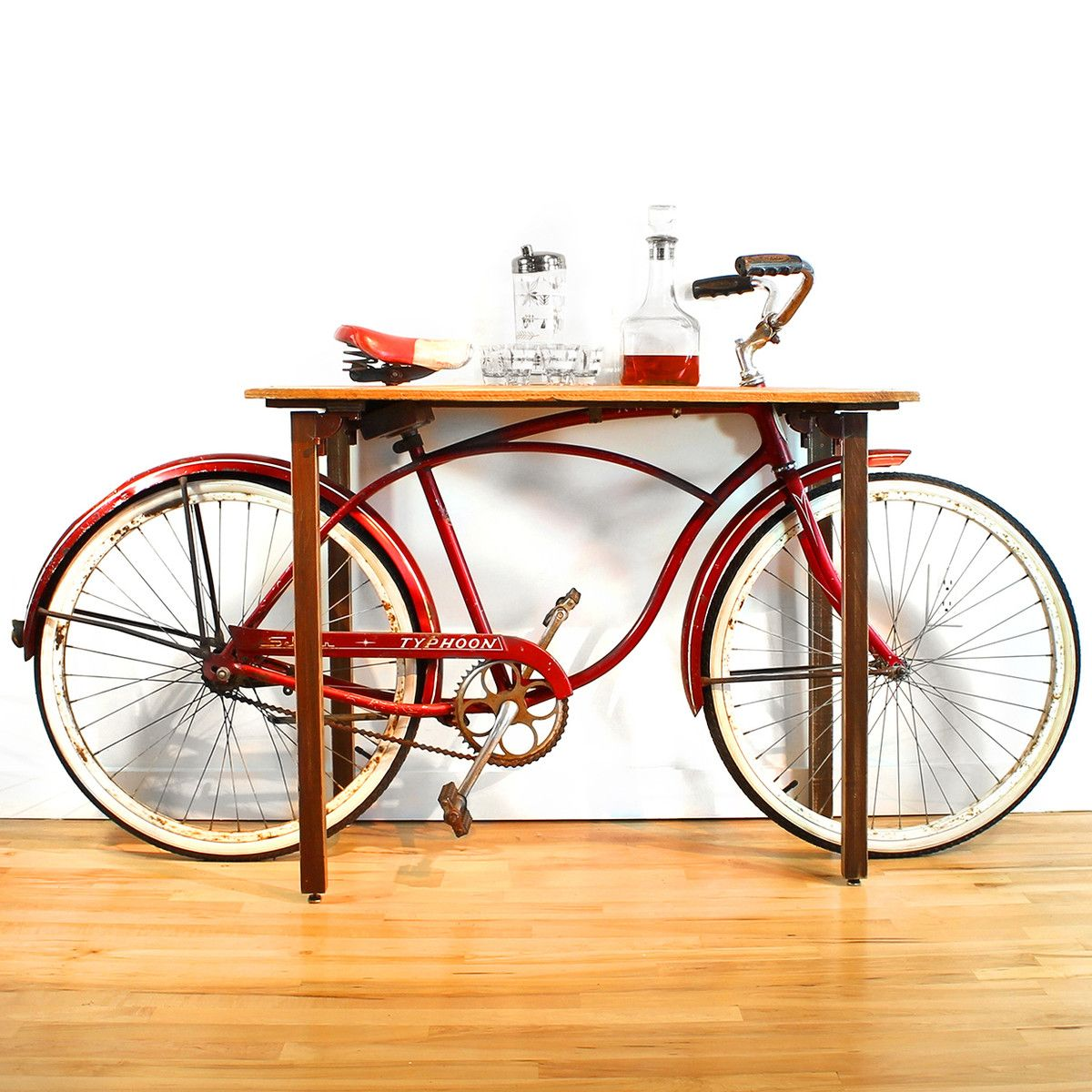 Reclaimed bicycle bar table bike upcycled recycled reclaimed table