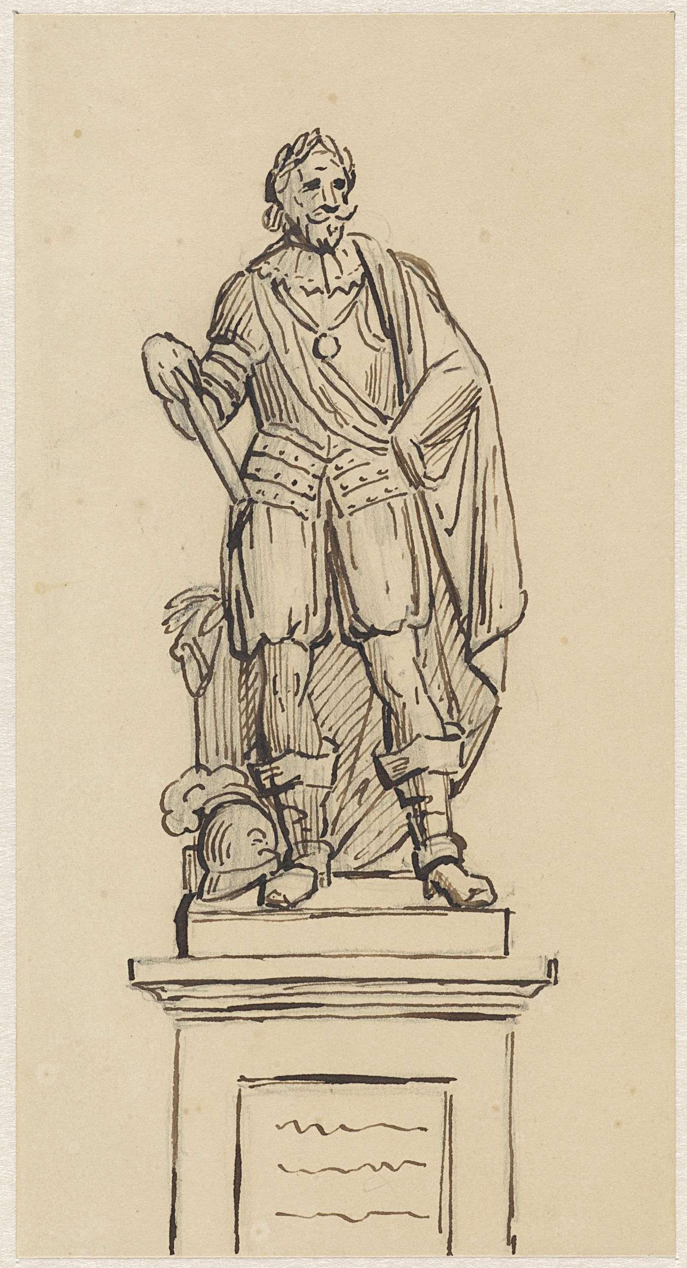 Louis Royer | Ontwerp voor een standbeeld van een krijgsbevelhebber, Louis Royer, 1803 - 1868 |