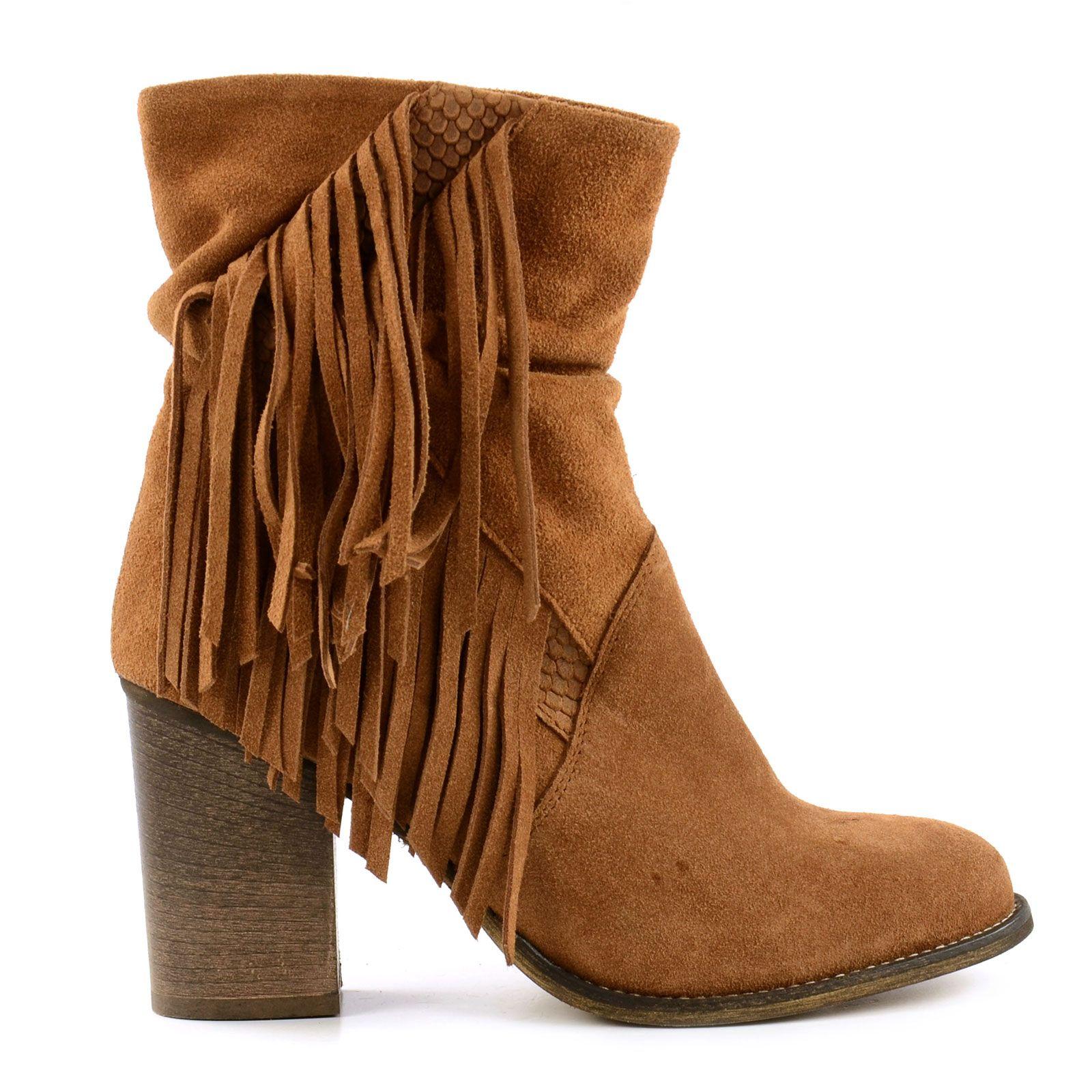 Cognac fringe boots - Cognac franje laarzen | Fringe boots ...