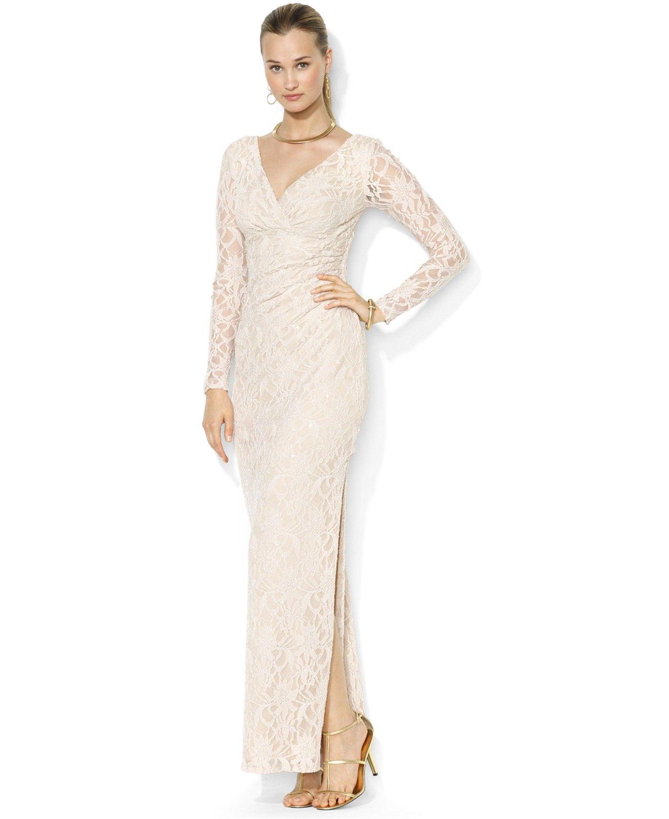 Lauren Ralph Lauren Dress, Long-Sleeve Sequin Lace Split Gown