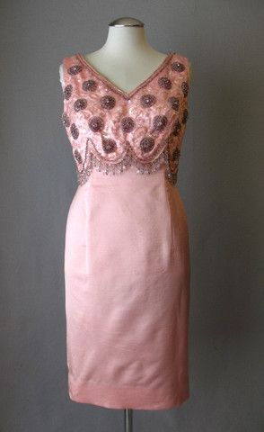 Vintage 60s Dress Beaded Pink Silk Small bust 38 at Couture Allure Vintage Clothing