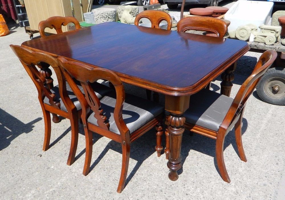 Mahogany Dining Table 6 Chairs Extendable Crank