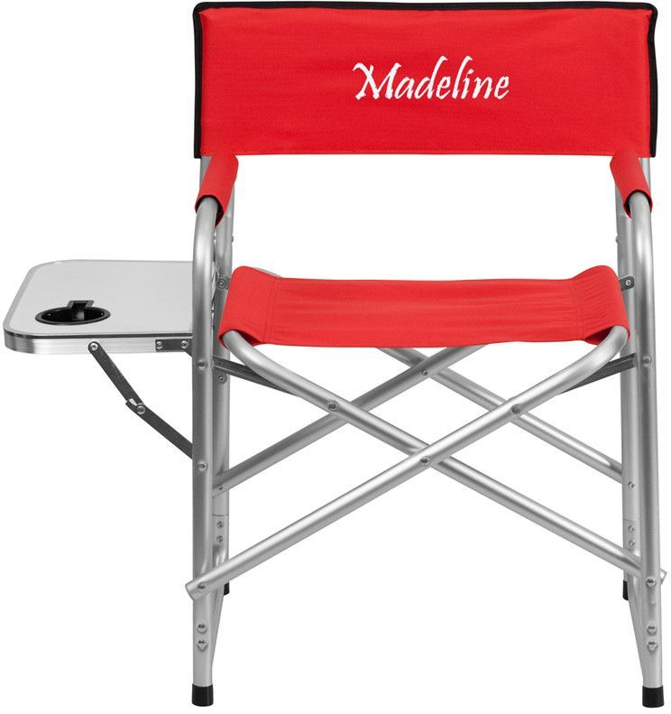 Flash Furniture TY1104-RED-TXTEMB-GG Personalized Aluminum Folding Camping Chair with Table and Drink Holder in Red