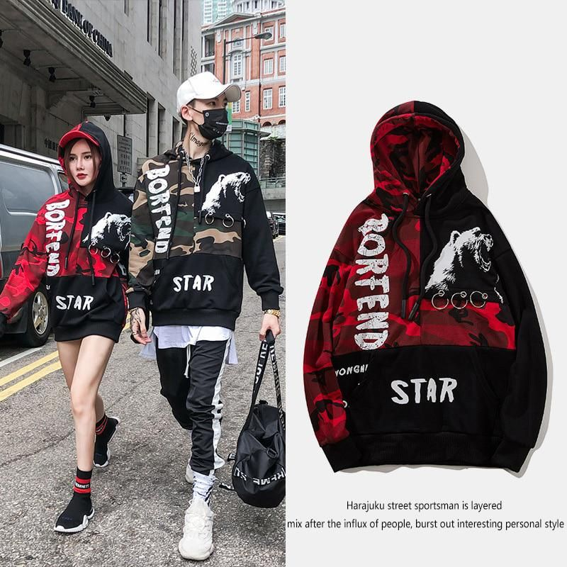 d8587a442b8b Patchwork Mens Two Color Hoodies Camouflage Letter Print Red Camo Hoodie  Sweatshirt Streetwear Hip Hop Oversized Fashions. Yesterday s price  US   68.89 ...
