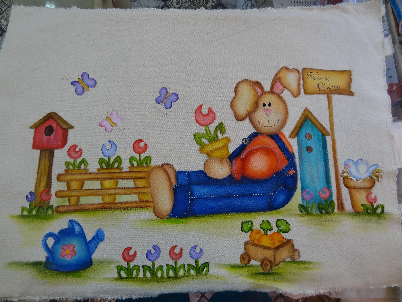 Tapete em lonita de algodão crú, pintado com tintas  de tecido por Joenara/ Páscoa 2015