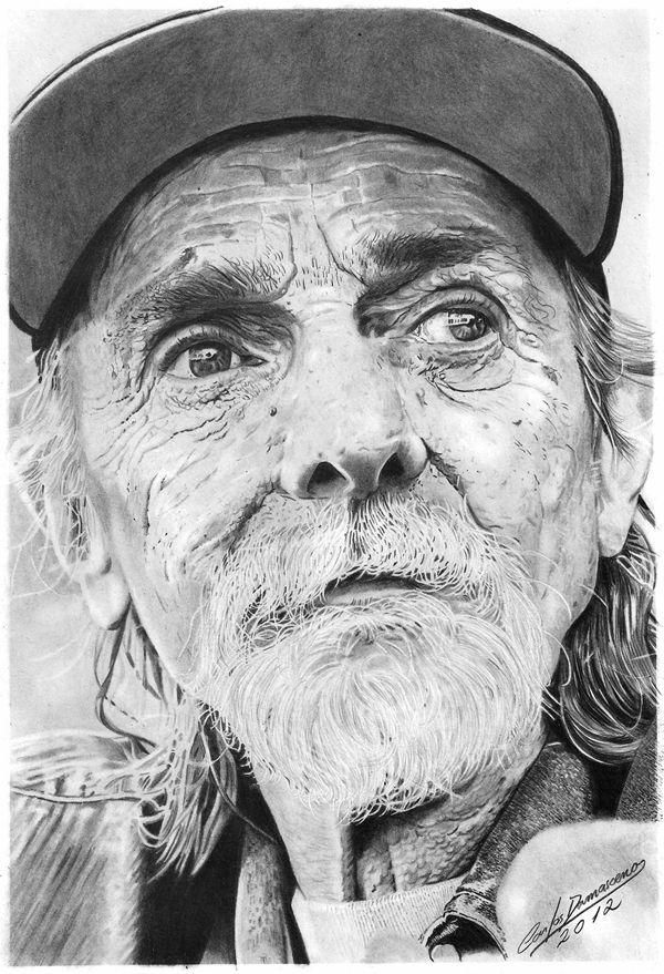 Desenho Realista de Carlos Damasceno - Velho de Boné
