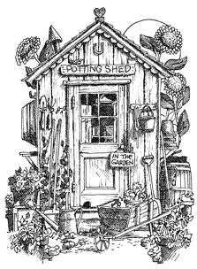 Impression Obsession Cling Mounted Rubber Stamp - Potting Shed