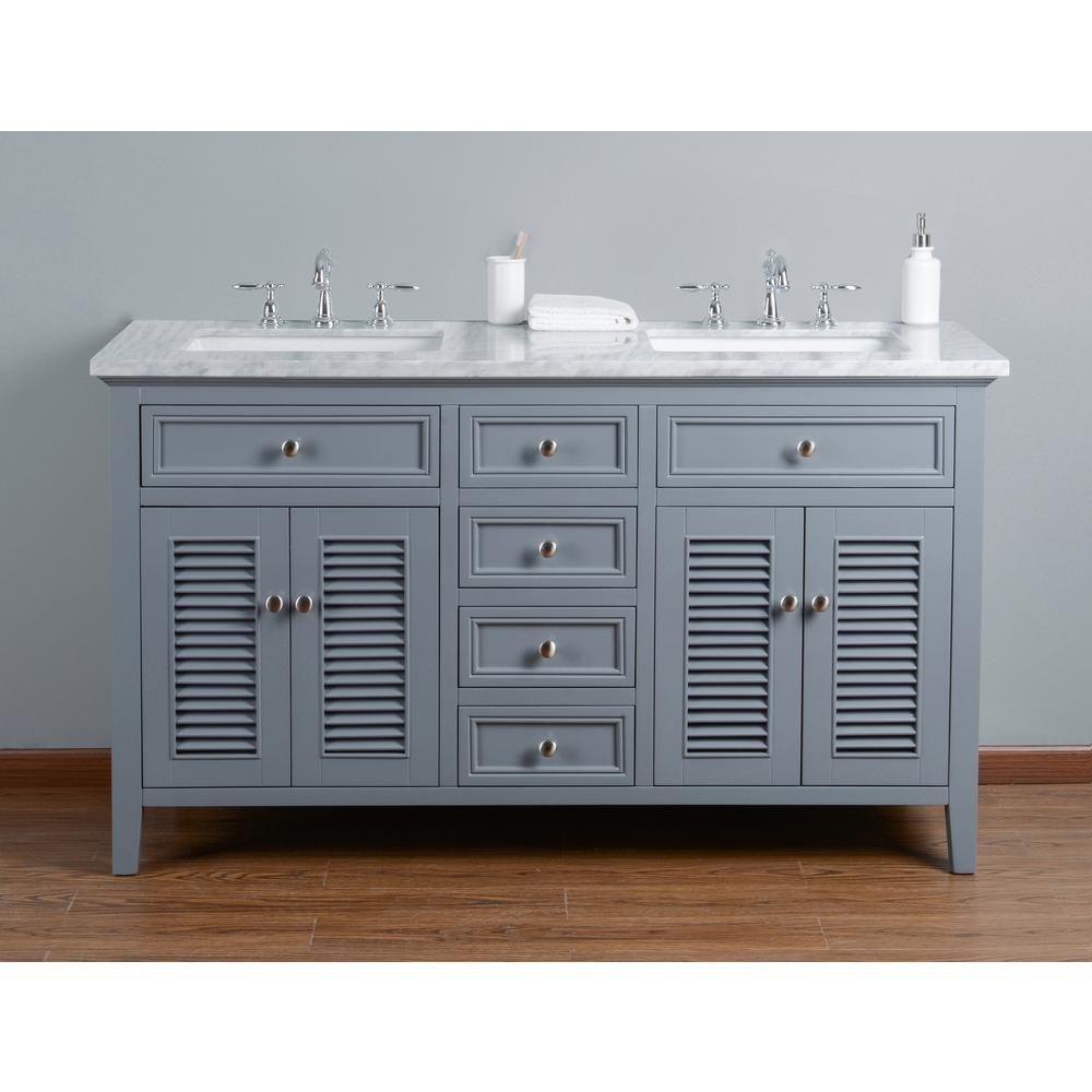 Stufurhome 60 In Genevieve Double Sink Vanity In Gray With Marble