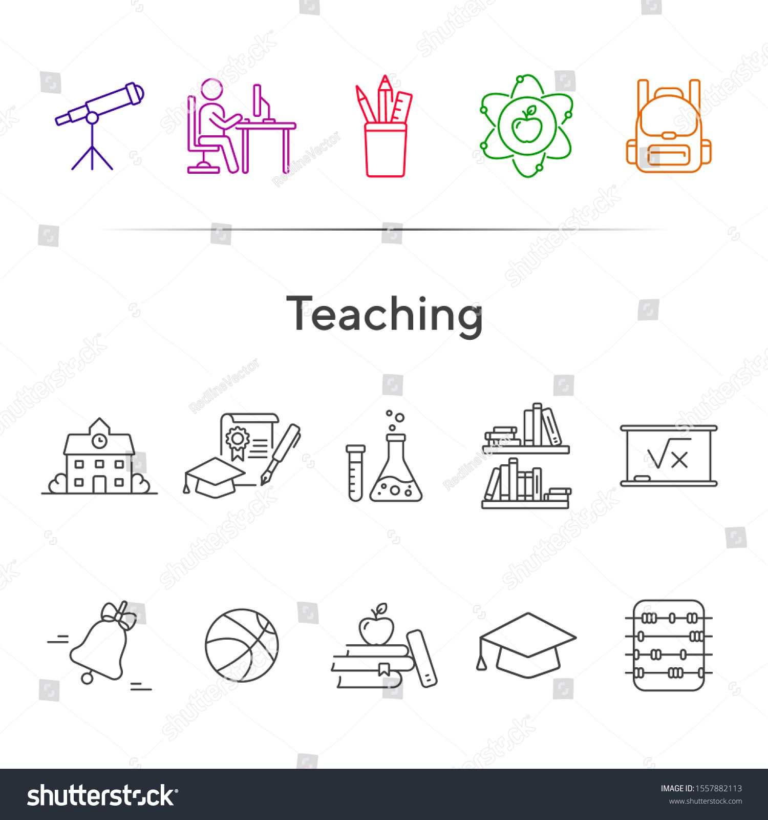 Teaching line icon set Library knowledge class Subject concept Can be used for topics like school education science