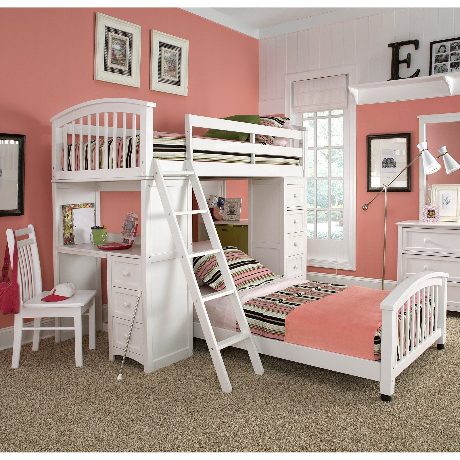 Boys loft bed with desk  Schoolhouse Student Loft Bed  White  Kids Beds at Kids Furniture