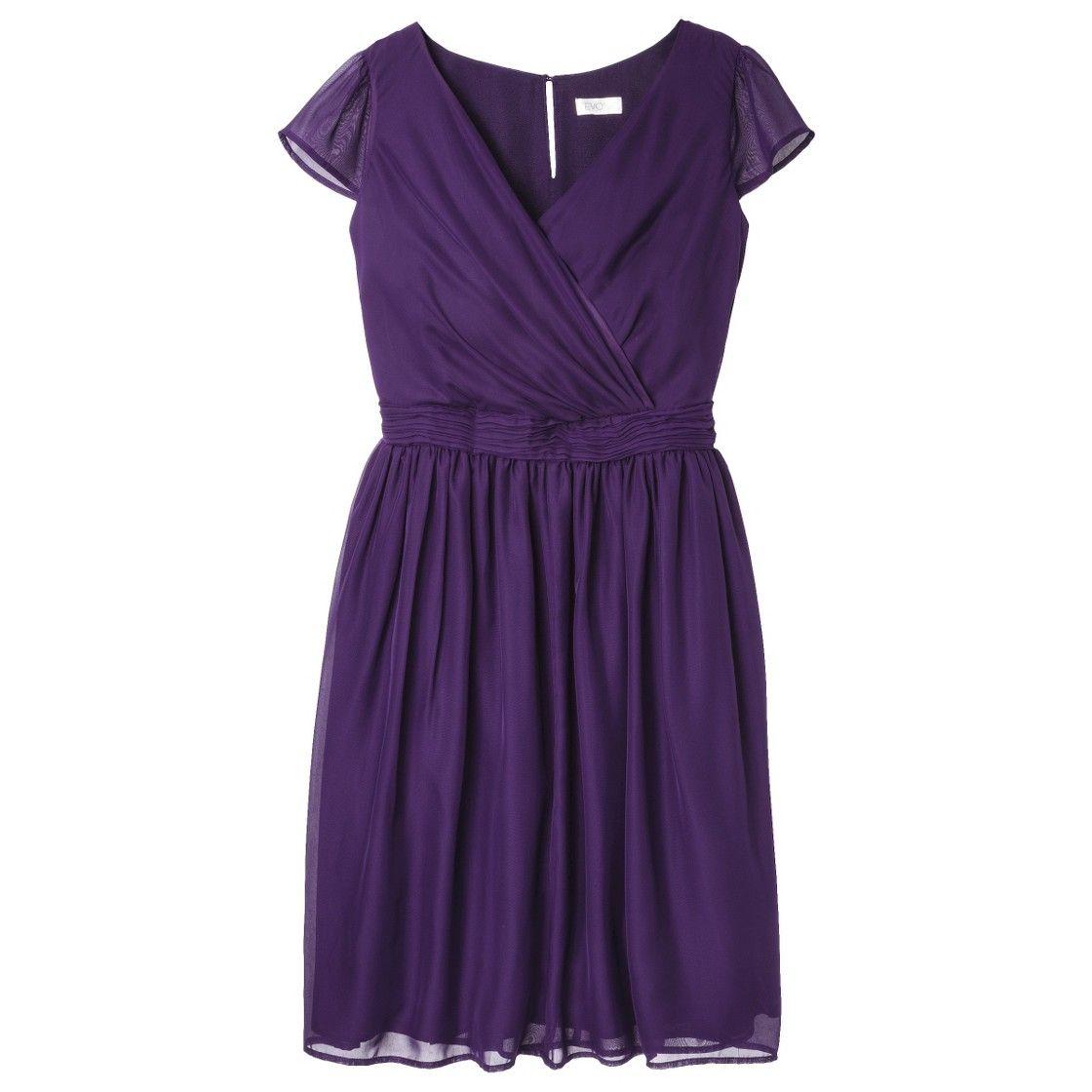 TEVOLIO Women\'s Chiffon Cap Sleeve V-Neck Dress - Fashion Colors ...