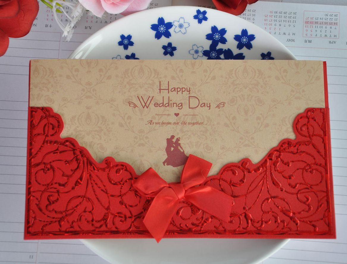Aliexpresscom buy red lace bowknot personality chinese for Blank chinese wedding invitations