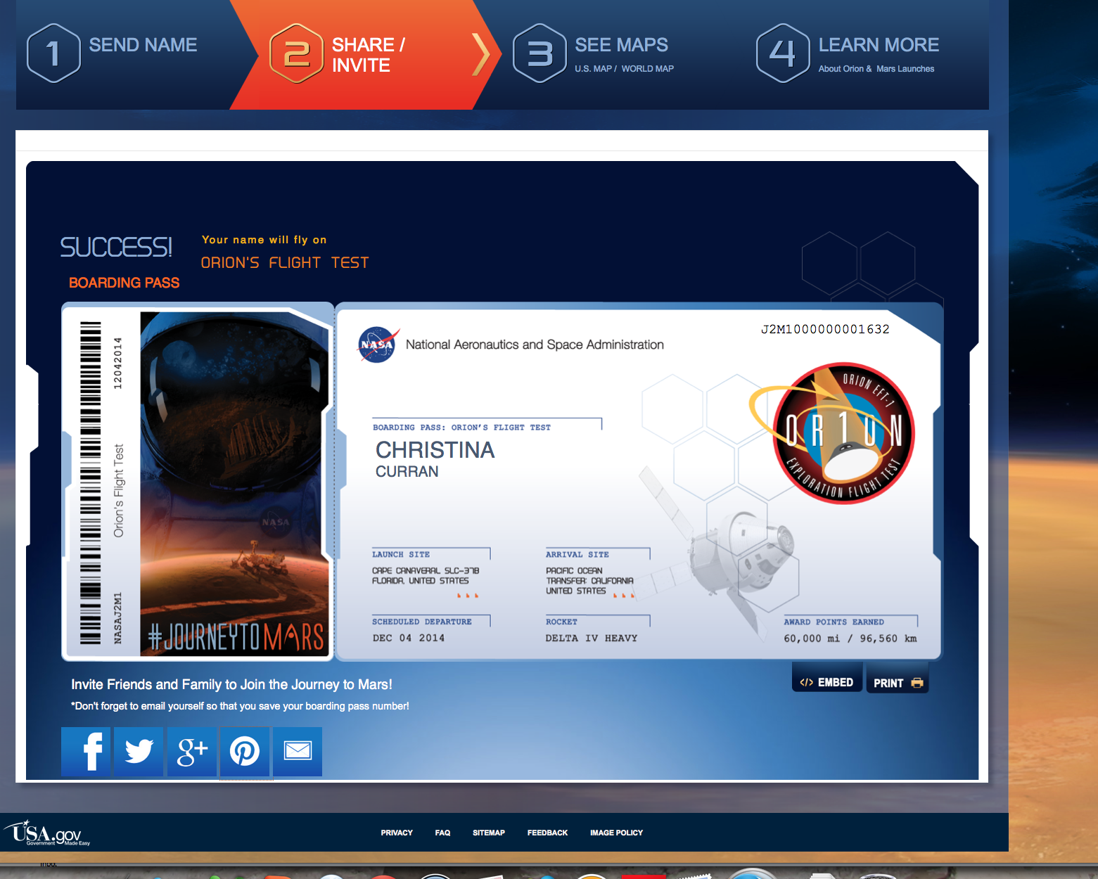 Just Put My Boarding Pass For The Mission To Mars They Take Your