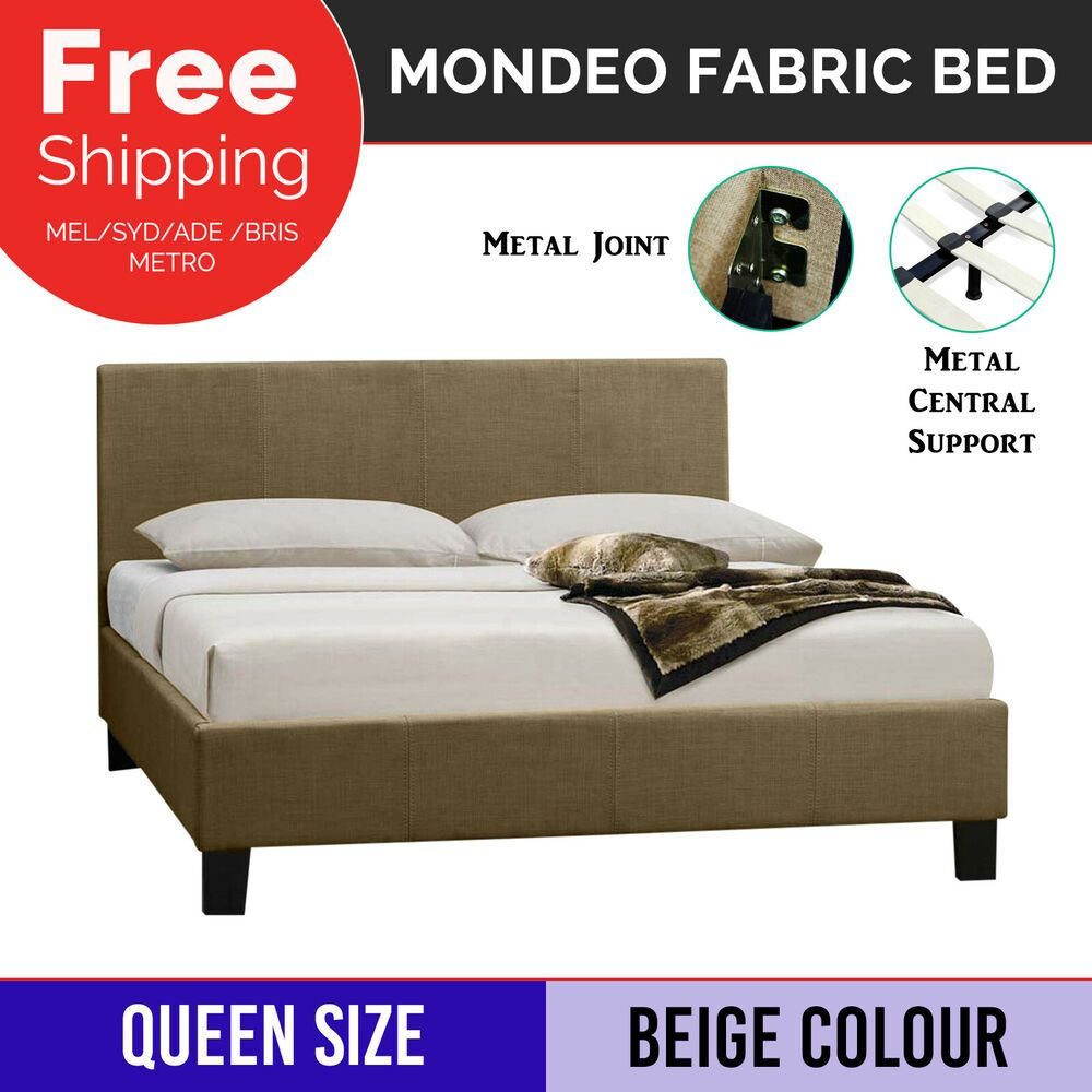 Bed Frame Queen Size Fabric Beige Bentwood Slats Metal Joint