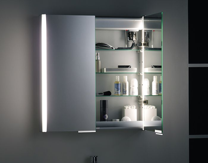 Modern Bathroom Mirror Cabinets Focus On Illuminated Shaver Socket Pinterest