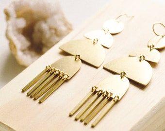 Fringe earrings brass earrings dangle earrings statement | Etsy