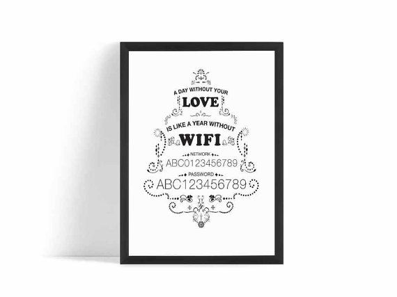 Printable Wifi Password Sign  Instant Download by BLISSbyPRINTS