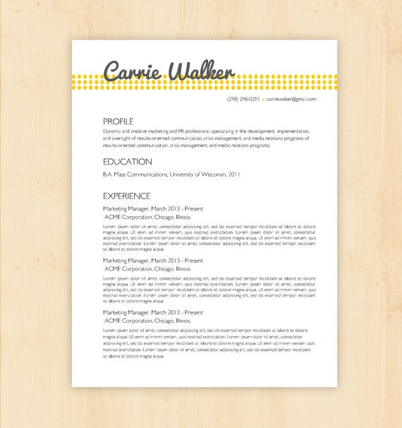 resume template cv template the carrie walker resume design instant download word