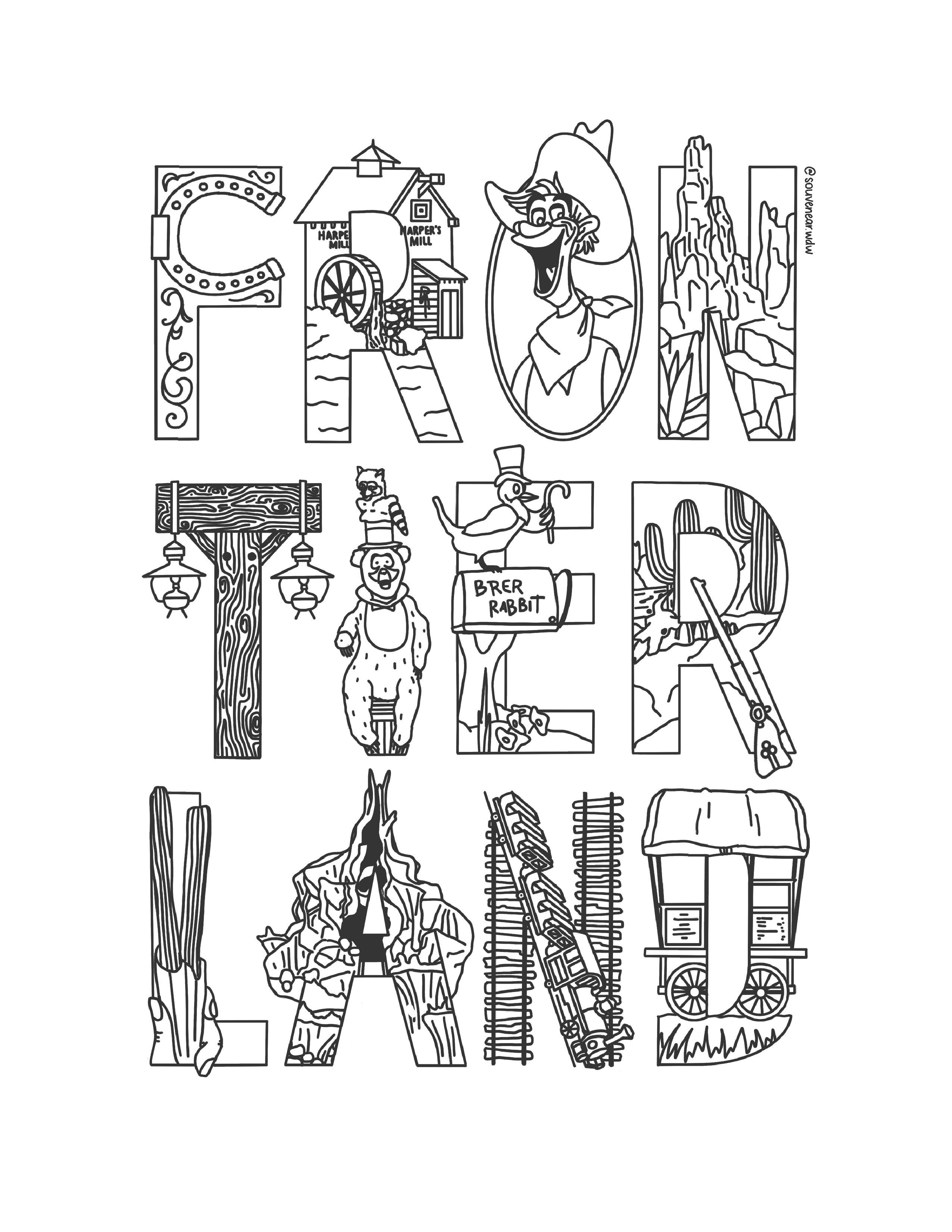 Frontierland Free Coloring Sheet Souvenear Free Printable Coloring Sheets Free Coloring Sheets Coloring Sheets