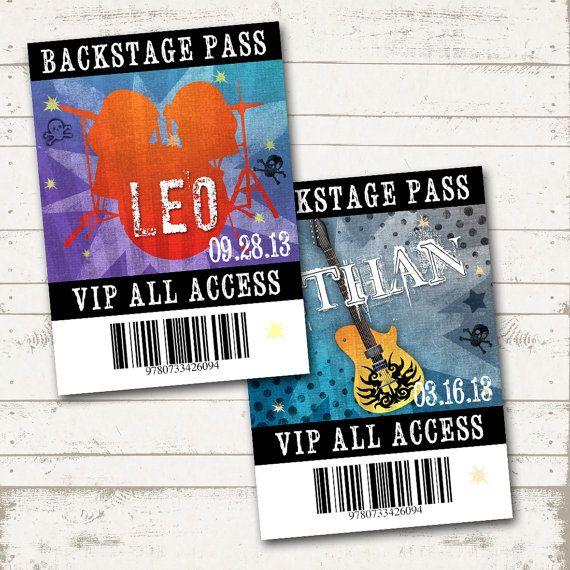 Rockstar Birthday VIP Backstage Passes - Party like a Rockstar- Rock