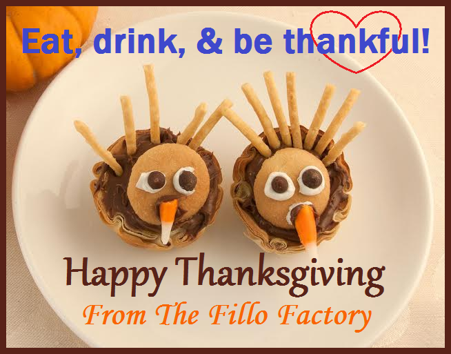 Thanksgiving turkeys in Organic Mini Fillo Shells... Adorable and delicious!