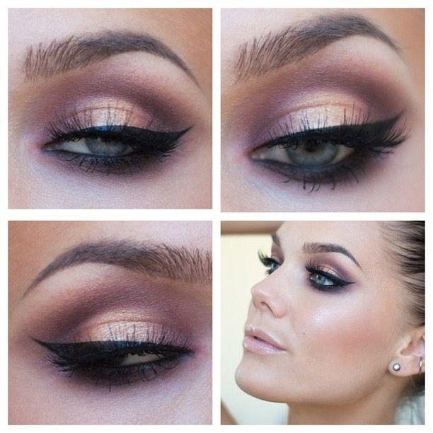 Smokey Pink Brown Eyeshadow Makeup Eye Black Eyeliner Beautiful Makeup Summer Makeup Eye Makeup