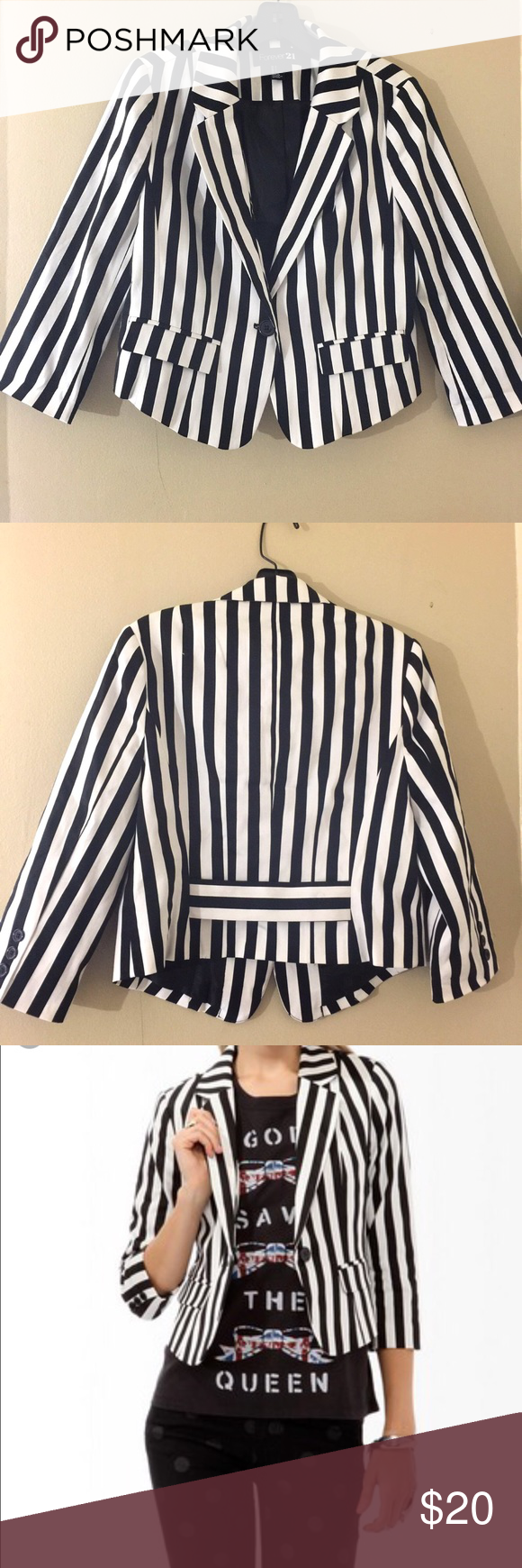 Forever 21 Blazer Forever 21 Black and White Striped Blazer            Semi cropped tailored blazer, Size L Forever 21 Jackets & Coats Blazers