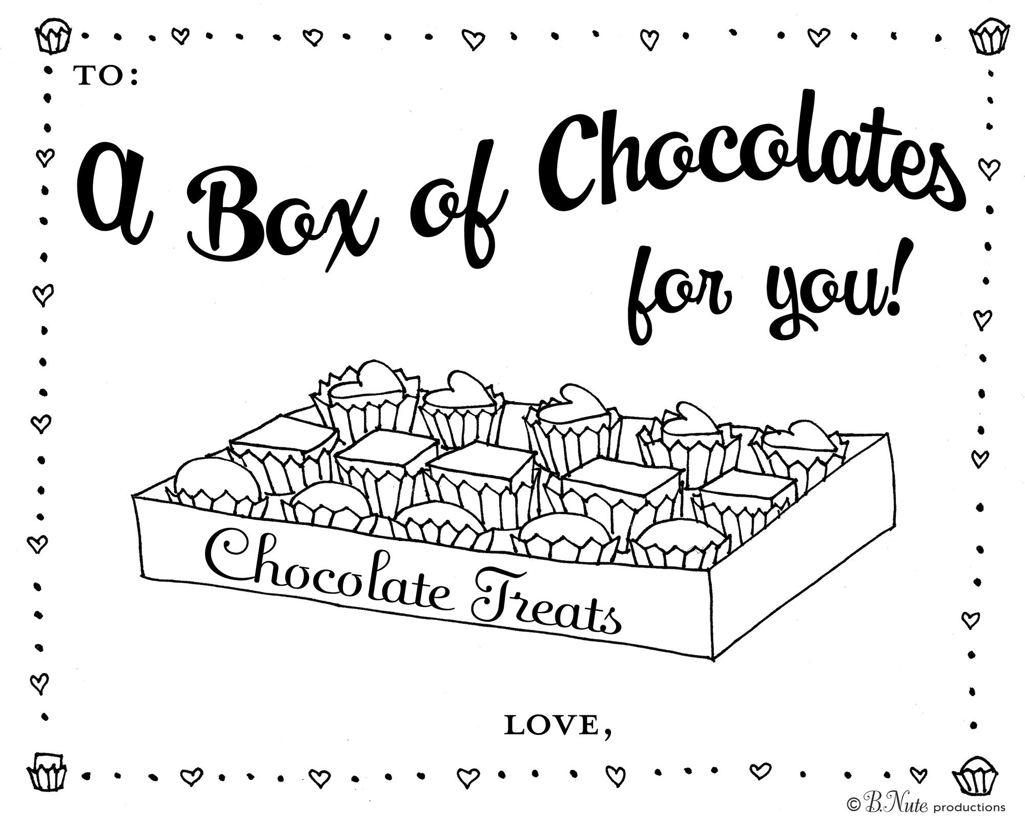 Box of Chocolates Coloring Page | Candy coloring pages ...
