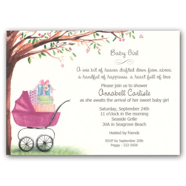 baby shower invitations for girls | foliage girl carriage baby, Baby shower invitations