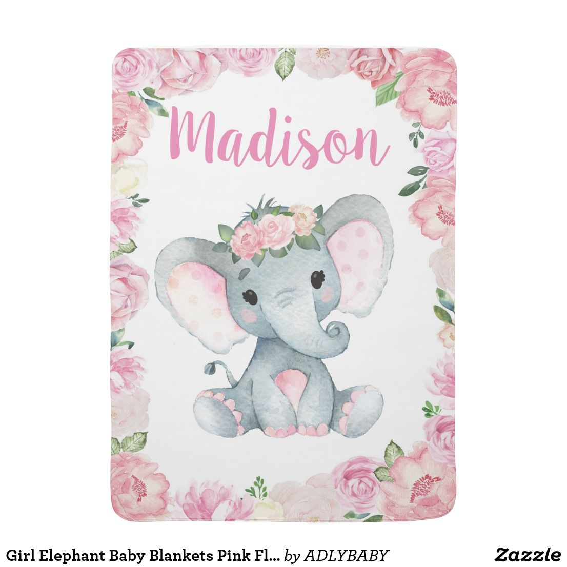 Girl Elephant Baby Blankets Pink Floral Name Elephant Baby Blanket Baby Elephant Personalized Baby Blankets