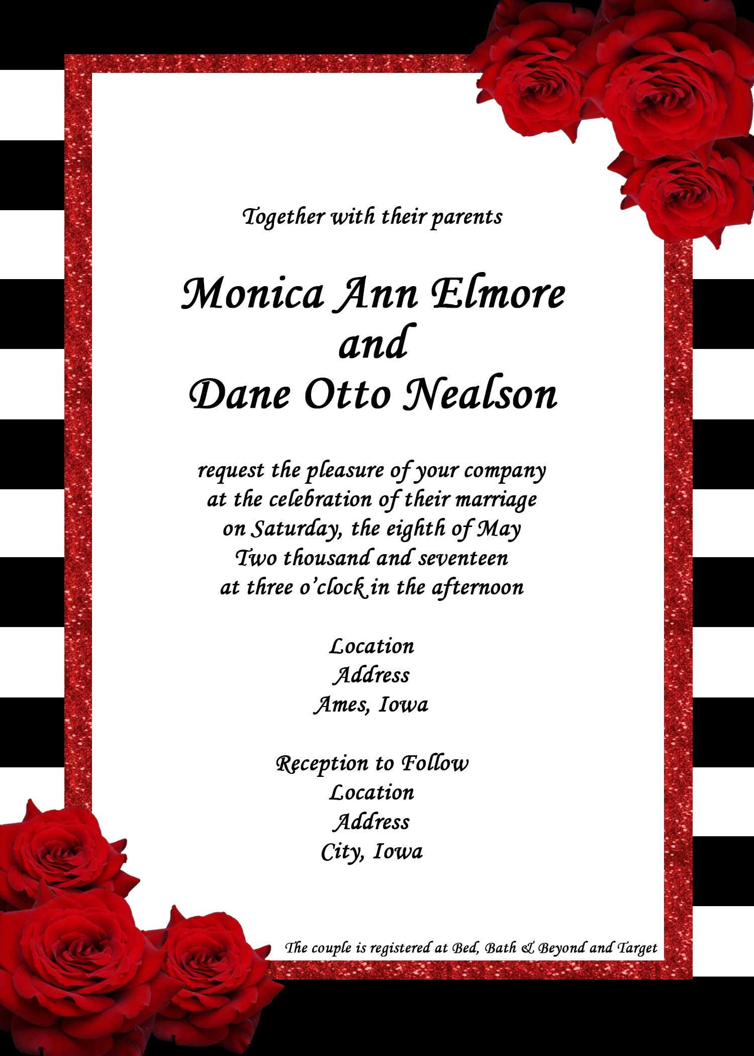 Digital File - Wedding Invitation Set - Black/White ...