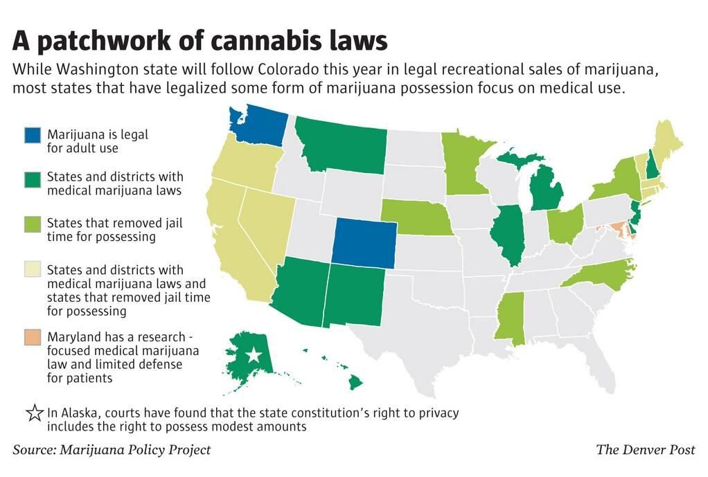 Map Statebystate Marijuana Laws In The US End Prohibition - Map of the us in the prohibition