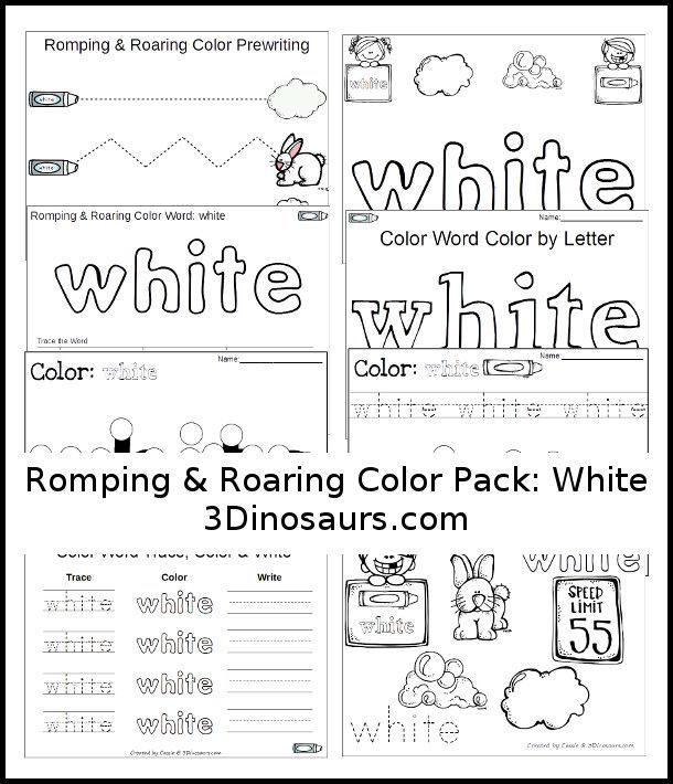 Free Romping & Roaring Color Pack White - 8 pages of printables - http://3Dinosaurs.com