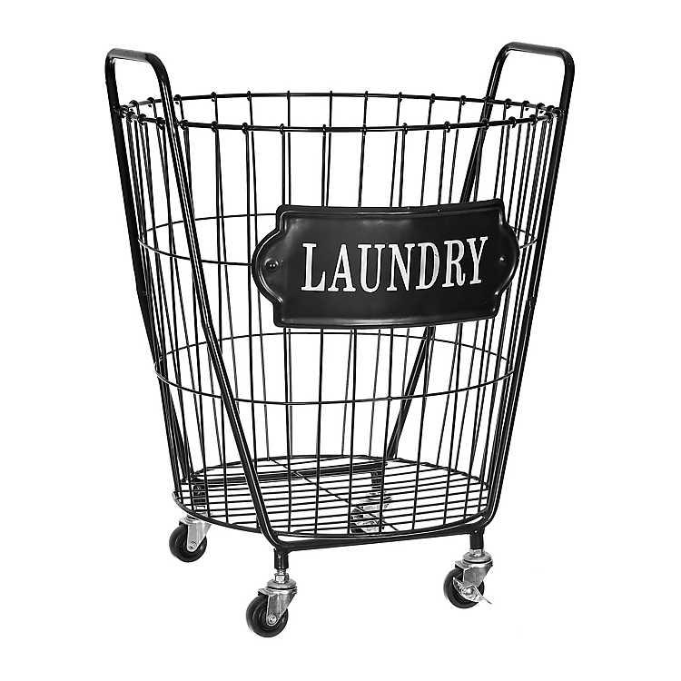 Black Metal Laundry Bin With Wheels Kirklands Laundry Room Baskets Laundry Basket On Wheels Laundry Bin Metal laundry basket on wheels