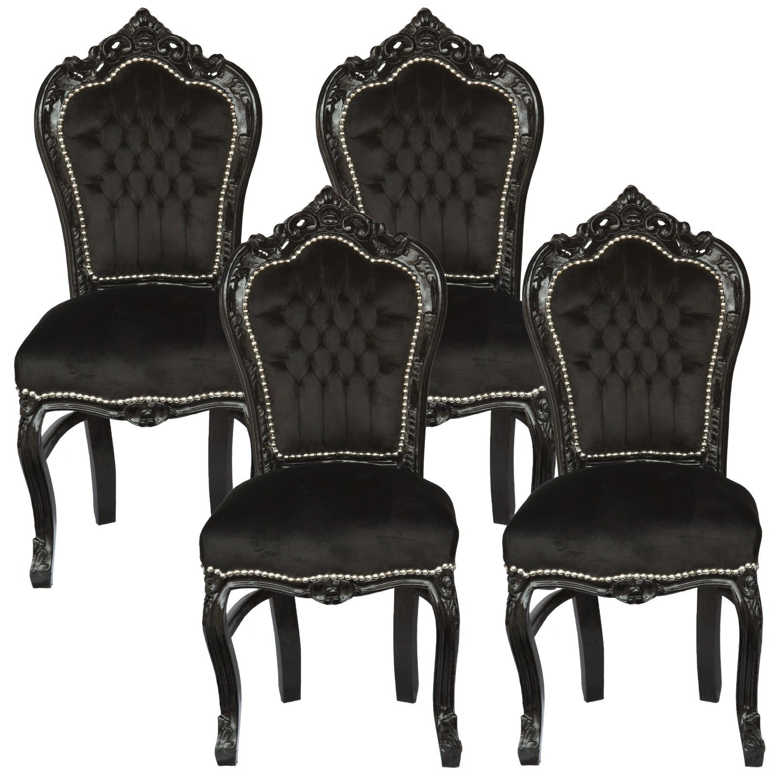 Amazing Set Of 4 Dining Room Chairs Baroque Gothic Black Velvet