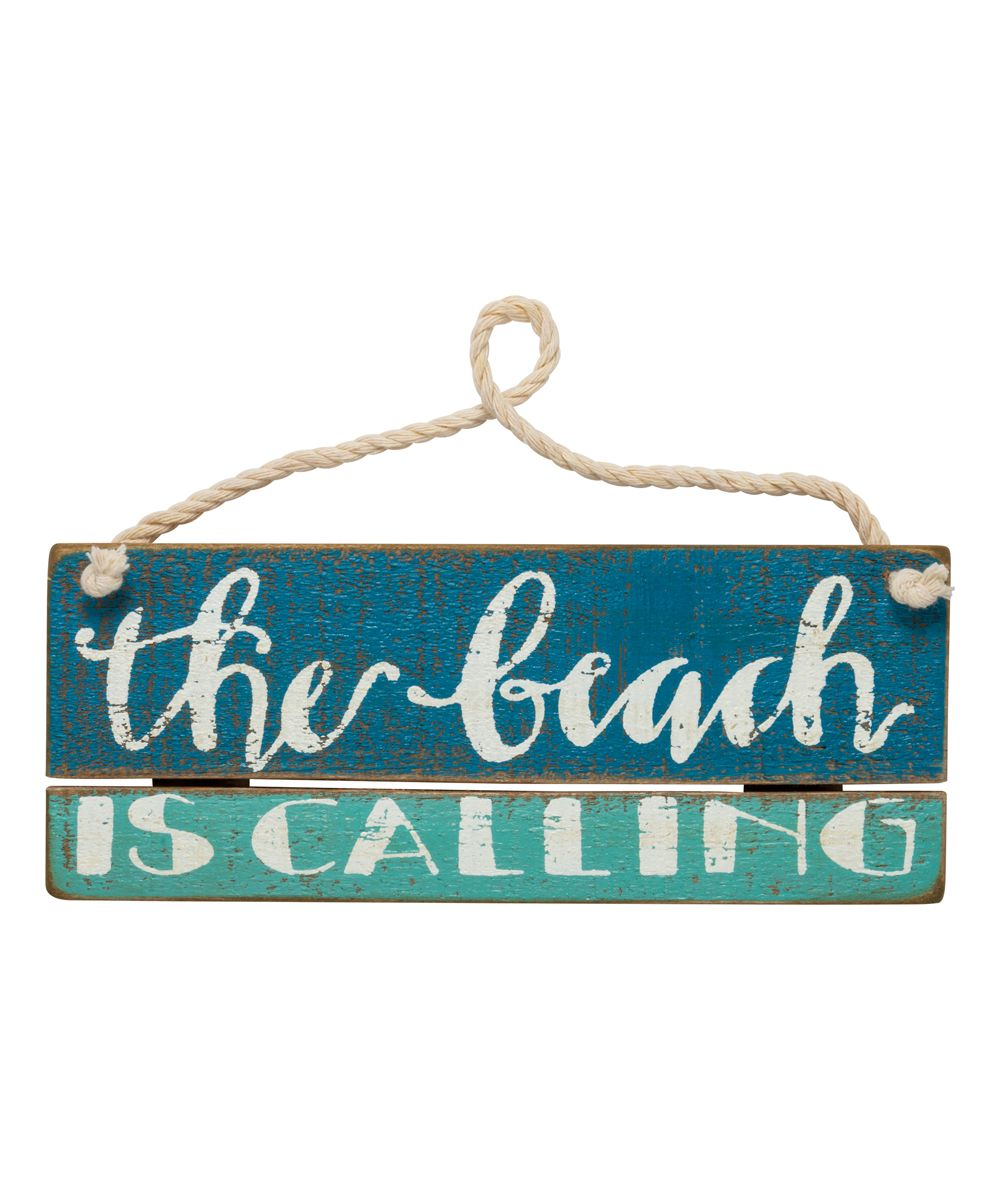 'The Beach Is Calling' Hanging Wall Sign