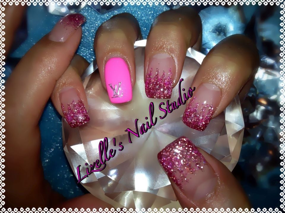Pink glitter tips with hot pink Louis Vuitton decal. Hand-painted ...