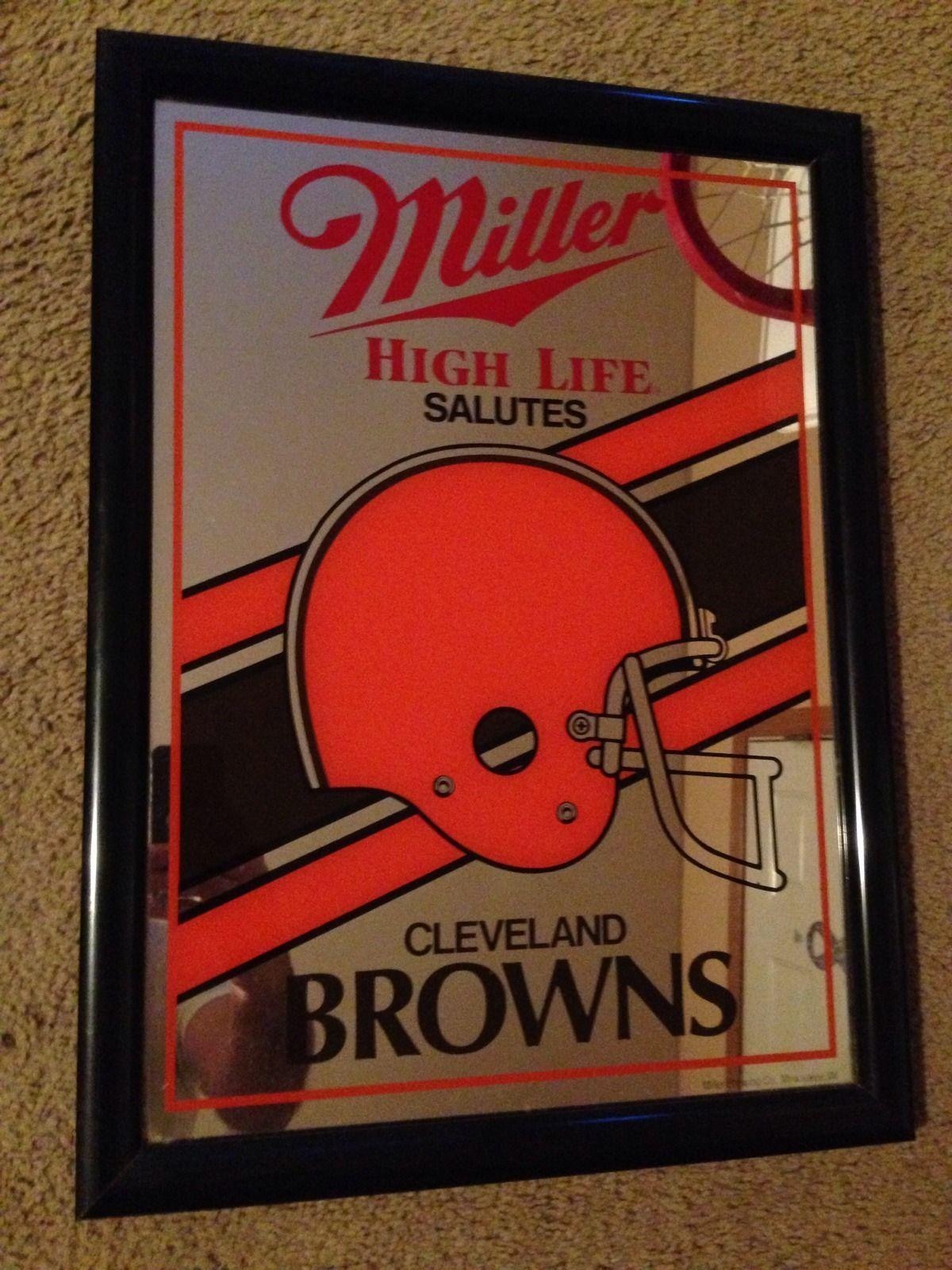 1990 Miller High Life Cleveland Browns Nfl Helmet Mirror