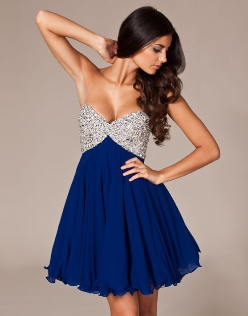 Blue dress with a silver embellished top. Love it!