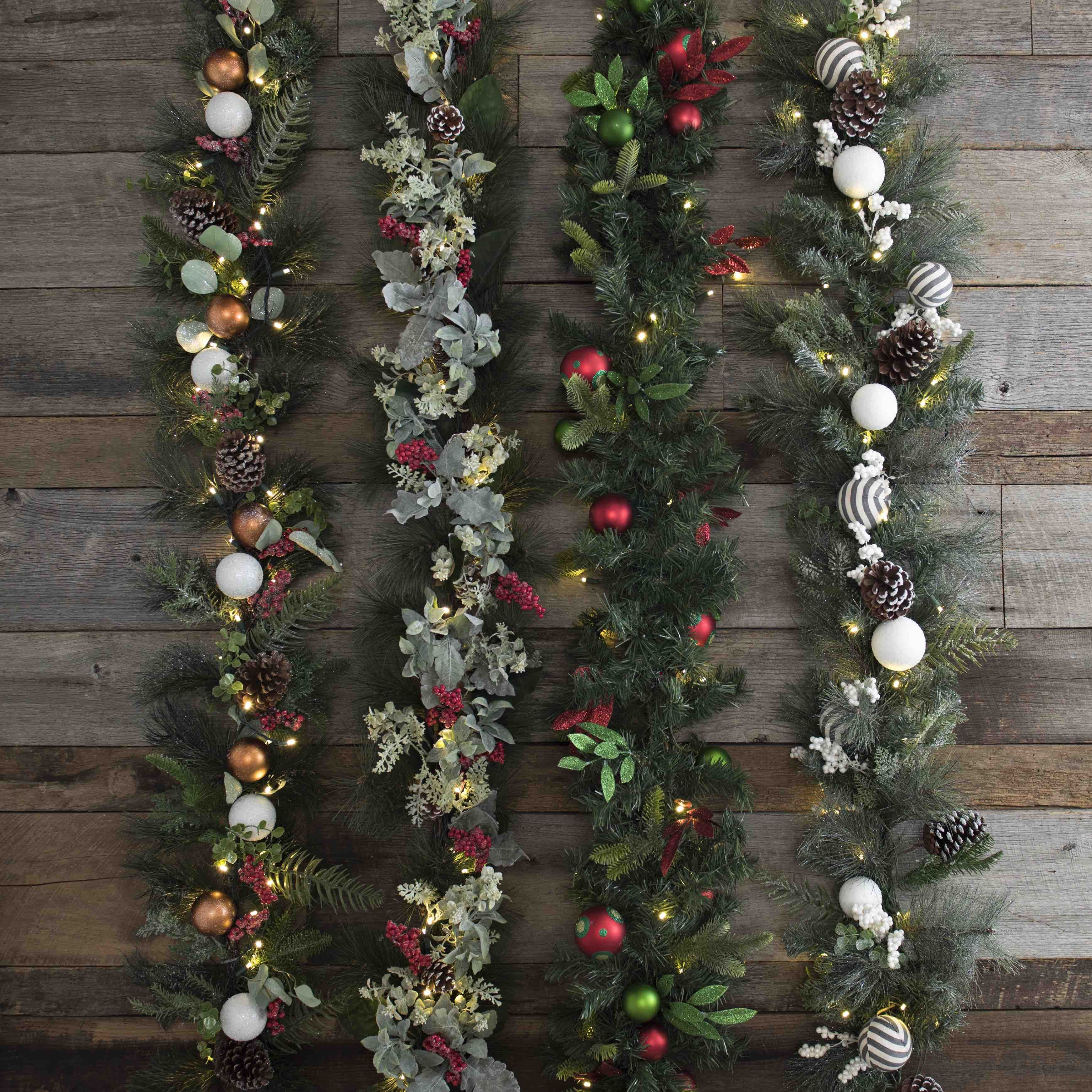 Easy Holiday decorating = pre lit garland