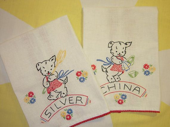 Vintage embroidered puppy tea towels