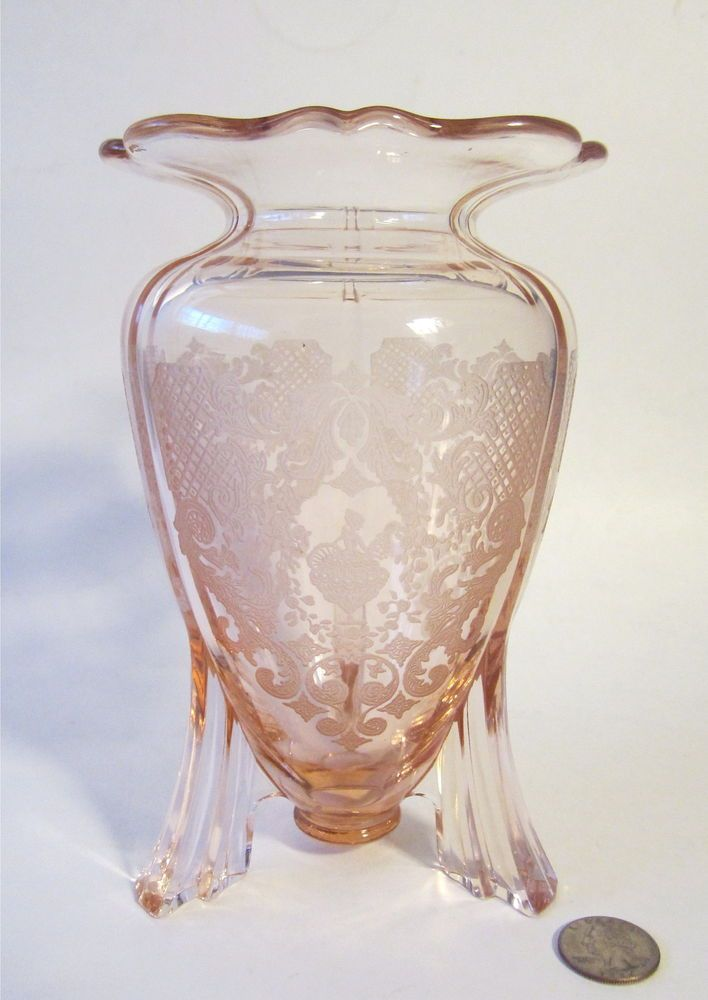Art Deco Glass New Martinsville Pink Etched Girl Bride Flower 3 Foot