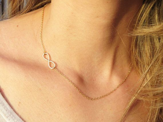 Bohemian Infinity Charm Necklace, Gold or Silver Sideways Necklace, Infinite boundless, and ageless love necklace, Celebrity Design on Etsy, $32.00