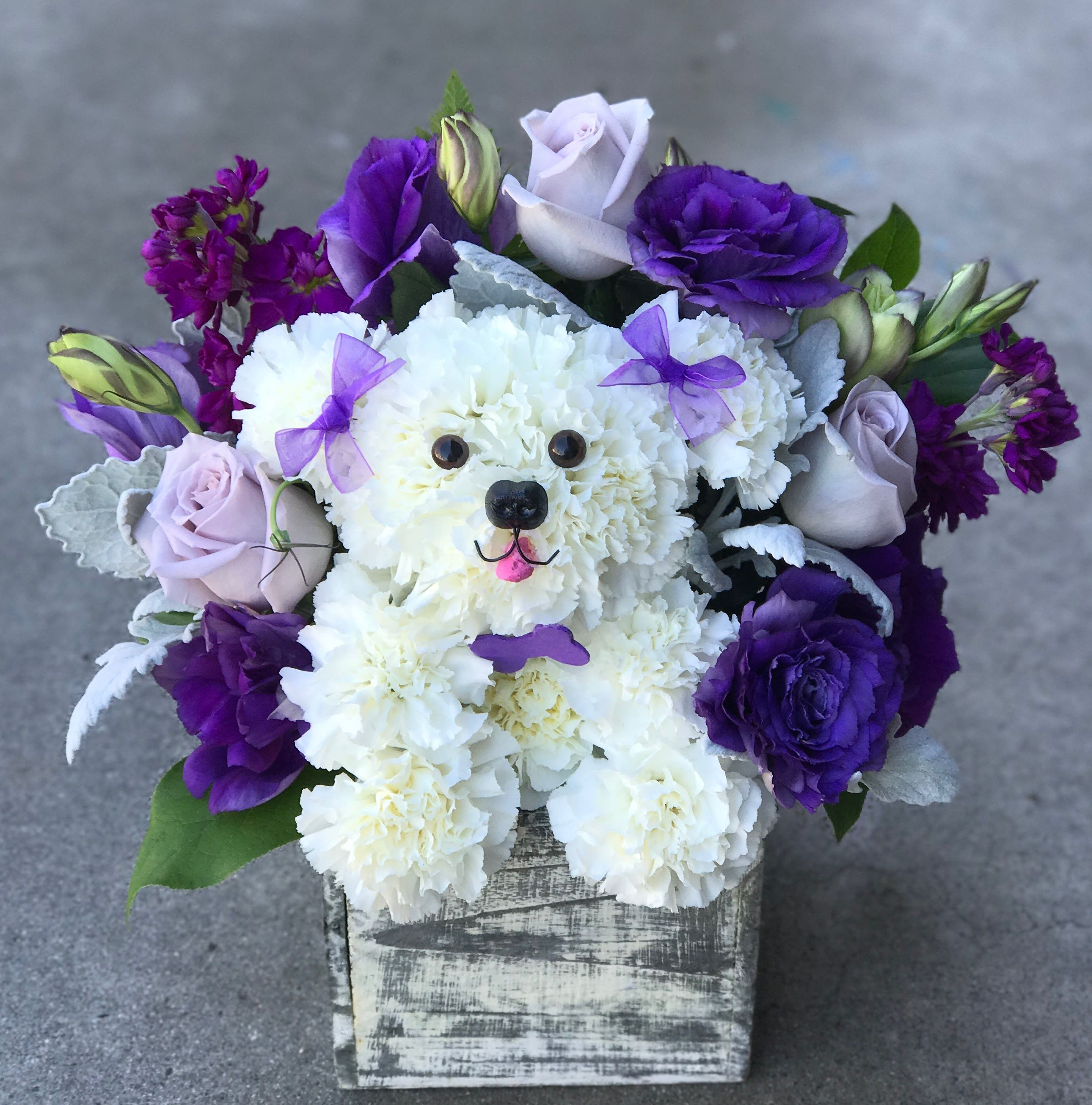Purple Puppy Love By Pink The Little Flower Shop In 2020 Oasis Flower Arrangements Puppy Flowers Flower Shop
