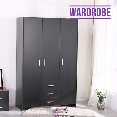BN Plain Wardrobe 3 Door Hanging Rail Top Shelf Bedroom Furniture  Modern Black https://t.co/fRddH1mzqv https://t.co/5WD9zASnn0
