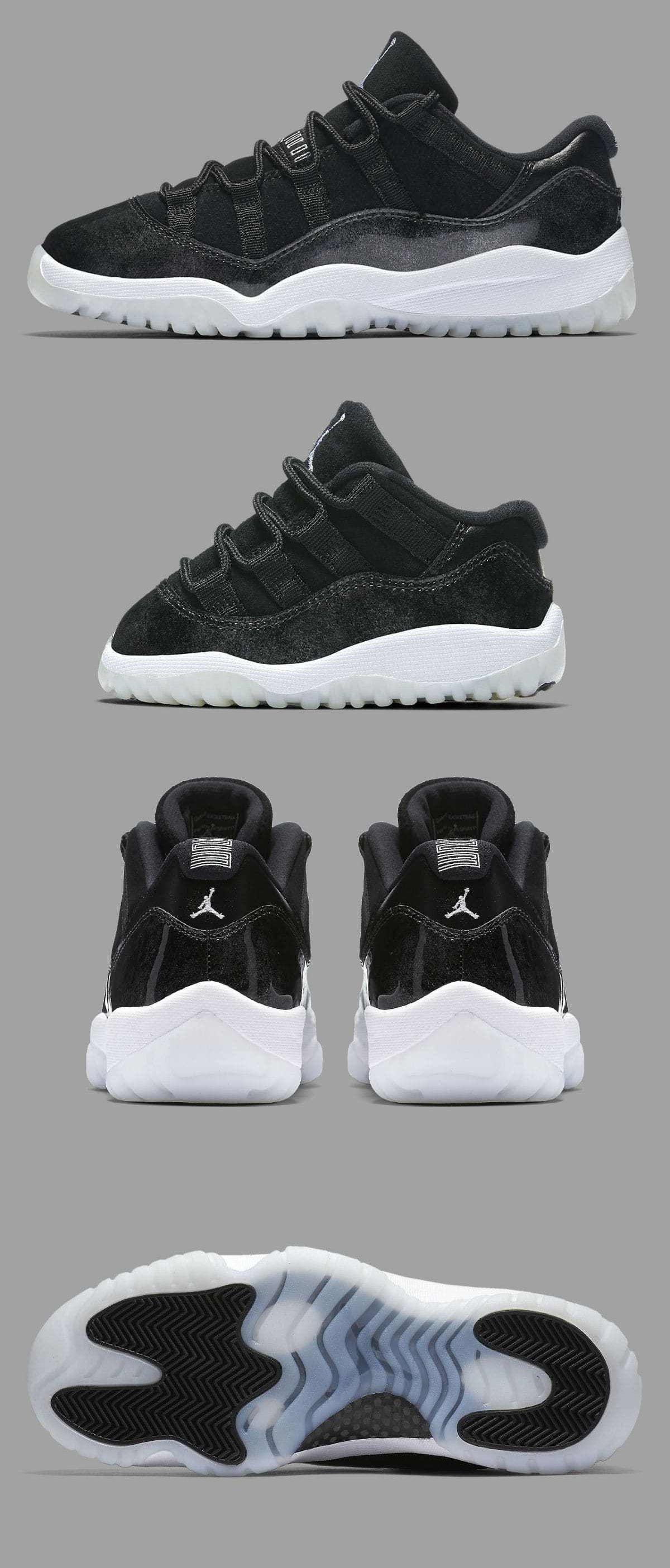 Baby Shoes Nike Air Jordan 11 Low Retro Barons Black White