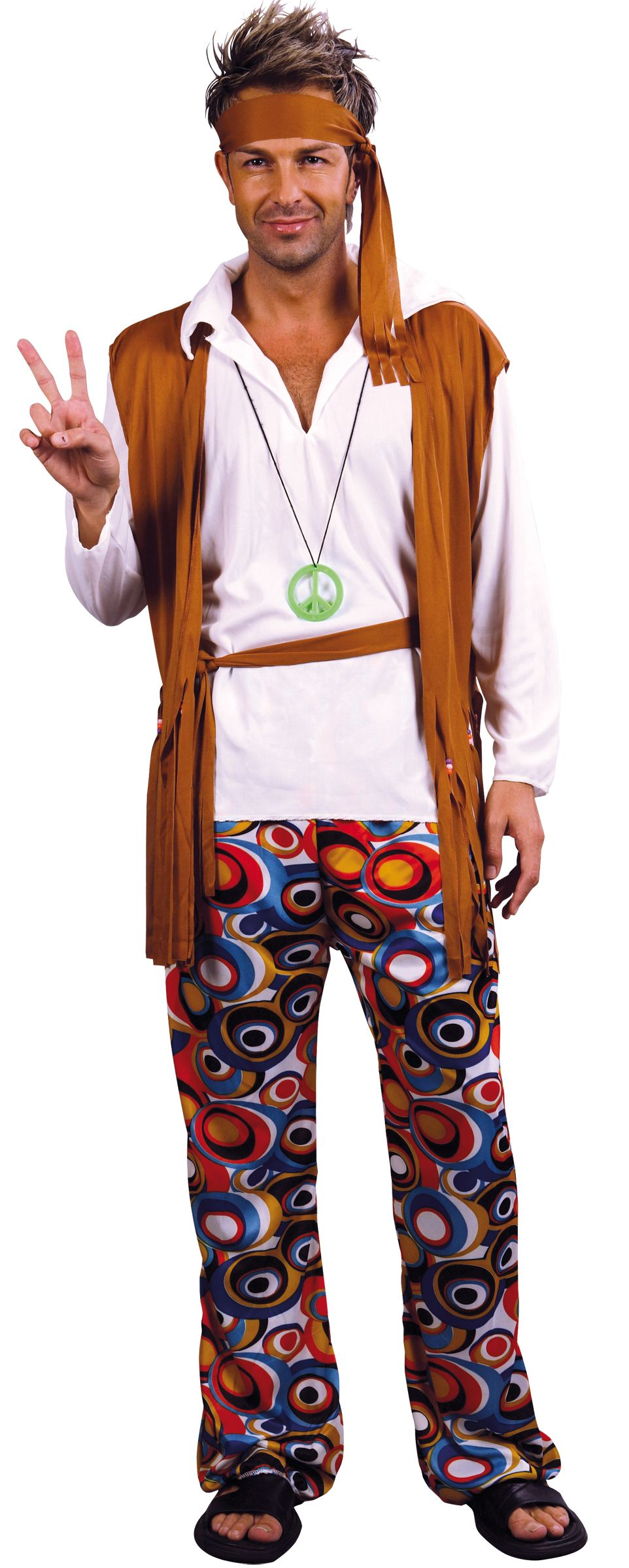 hippie man costume featuring brown waistcoat trousers and peace headband from our retro range