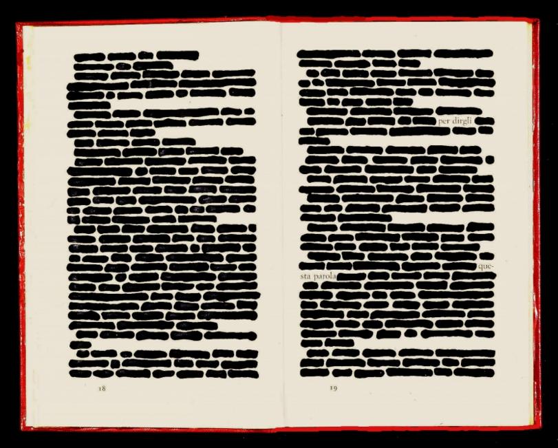 """""""Al tempio c'è una poesia intitolata """"la mancanza"""", incisa nella pietra. Ci sono tre parole, ma il poeta le ha cancellate. Non si può leggere la mancanza: solo avvertirla."""" #MemoriediunaGeisha Img: #EmilioIsgrò, Libro cancellato, 1964."""