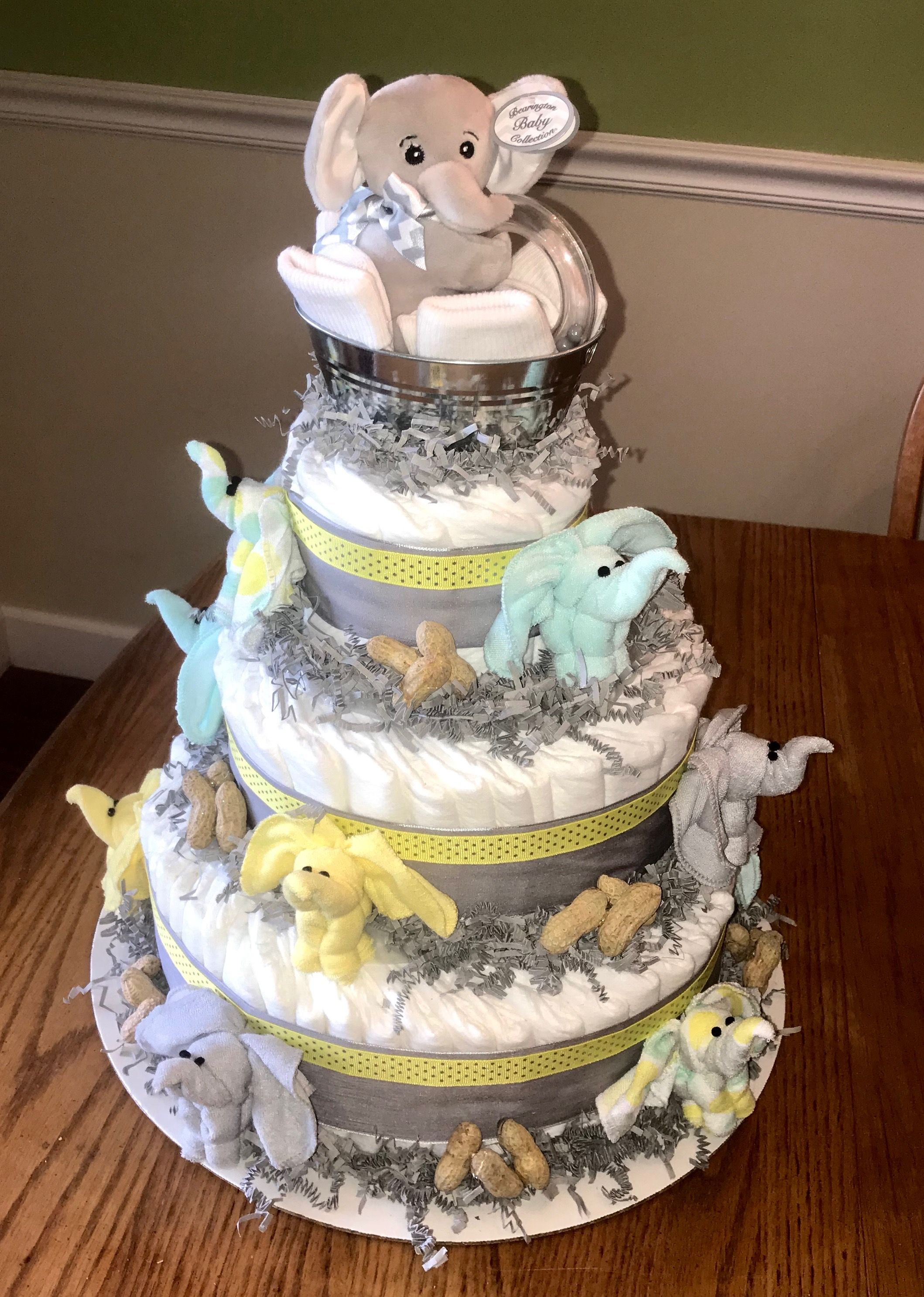 Elephant diaper cake baby washcloth elephant diaper cake