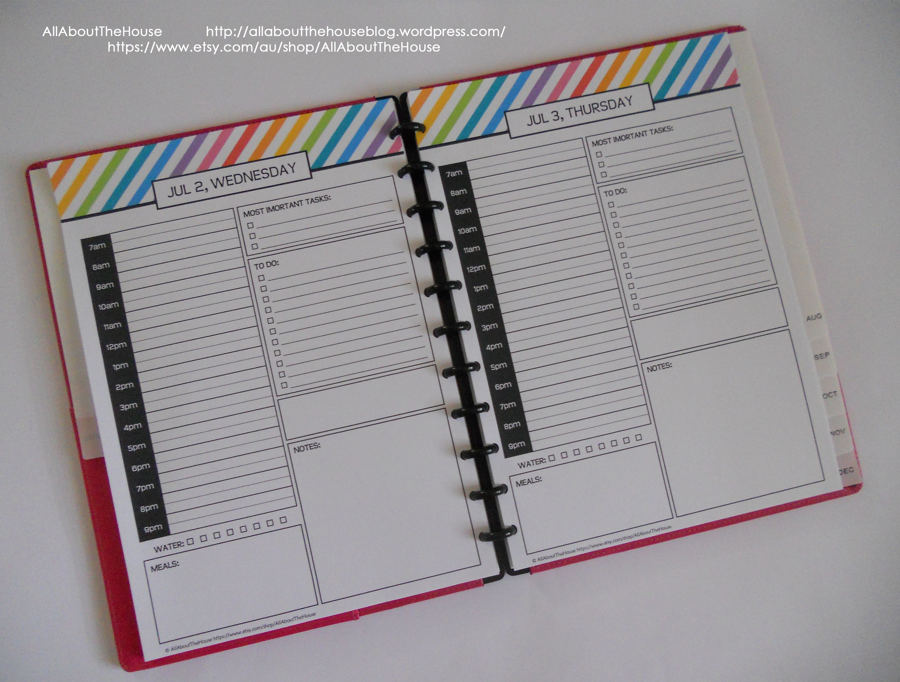 Microsoft Daily Planner My 2015 Printable Rainbow Daily Planner  Pinterest  Planners A5 .
